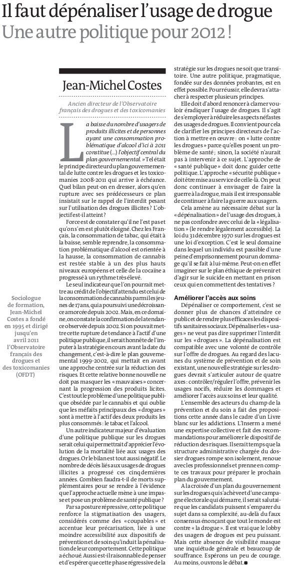 Le Monde, 31 décembre 2011, p.18. J.M. Costes